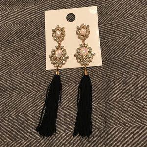 Black gem tassel earrings